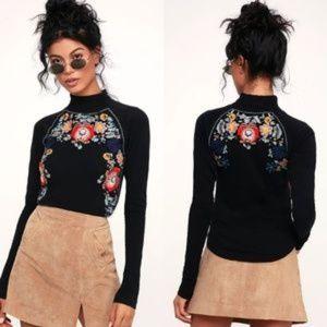 FREE PEOPLE Disco Rose Turtleneck Sweater-SMALL